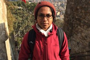 Agrani Ratnayake, pictured at monkey temple in Kathmandu, spent 10 days in Nepal connecting with leprosy patients.