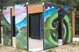 The new art panels at Tikitapu toilets.