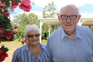 Patsy, left, and Ron Hughes, 85, who is retiring from Athletics Featherston after being involved with the club for 47 years. Pictured at their Featherston home. WAG 15Feb16 - LONG SERVICE: Patsy