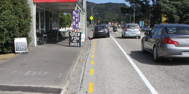 The Town & Country Fish & Chip Shop in Featherston loses car parks during re-sealing work. PHOTO/ANDREW BONALLACK
