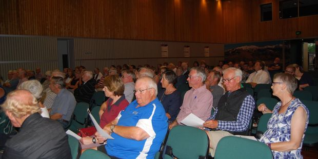 About 90 people gathered at the Carterton Events Centre to see the new draft governance models presented by LGC. PHOTO/ALISA YONG