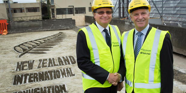 Loading John Key and SkyCity CEO Nigel Morrison at the New Zealand International Convention Centre sod-turning event.