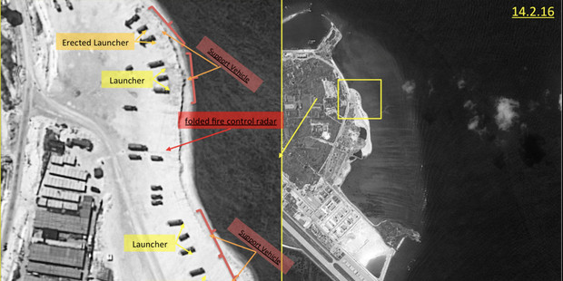 This image with notations provided by ImageSat International N.V., shows satellite images of Woody Island. Photo / AP