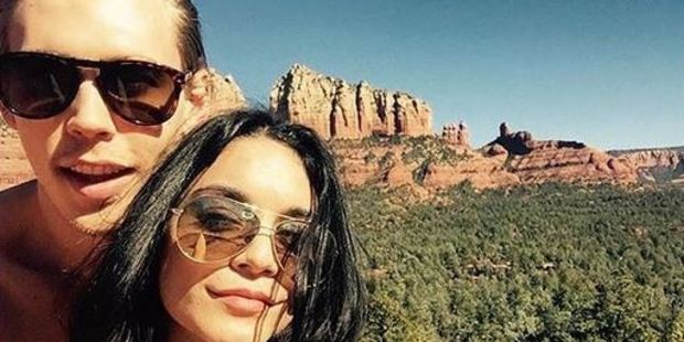 Vanessa Hudgens and her boyfriend Austin Butler are reportedly being investigated after allegedly carving their names and a heart into a rock in a protected national park. Photo / Instagram