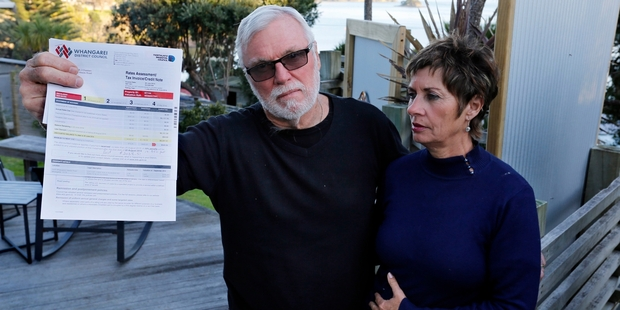 Whangarei Heads residents Richard and Bernadette Schofield pictured last year when they refused to pay the NRC levy, saying kiwi conservation is a national issue, not one for local rates. The rate has been given the thumbs up after a review.