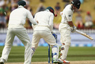 BJ Watling is bowled by Nathan Lyon. Photo /Getty