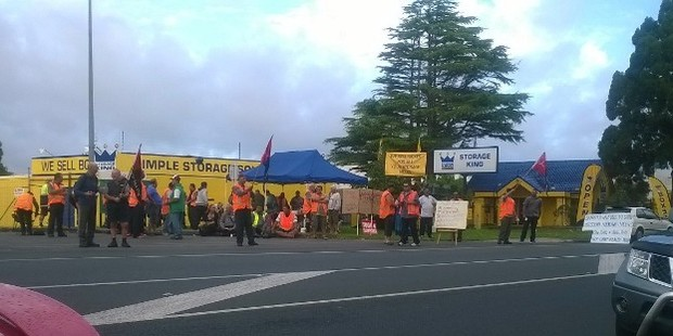Bus drivers strike at NZ Bus' Swanson depot. Photo / Supplied