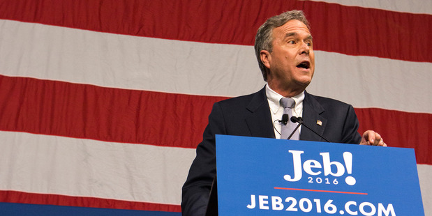 Jeb Bush gives his speech to a packed auditorium of supporters. Photo / Washington Post / Alex Holt