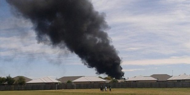 Smoke seen from the fire at the power substation. Photo / Chris Geldard, Twitter