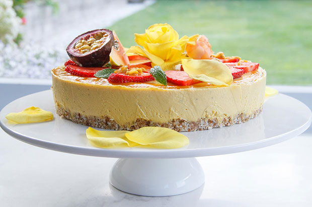 Mango and passionfruit summer celebration cake. Photo / Bite magazine