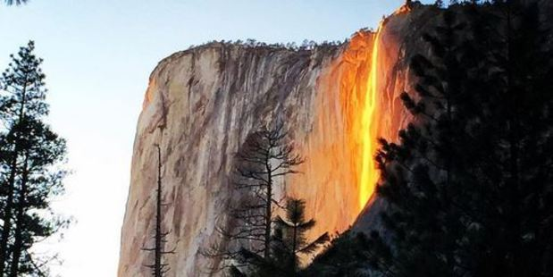 The firefall can occur at sundown for a few weeks every February. Photo / Instagram @jeffreyplui