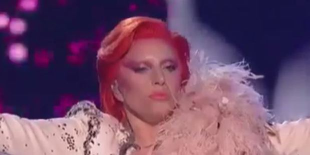 Gaga channeled the many faces of David Bowie during her tribute to the singer at today's Grammy Awards.