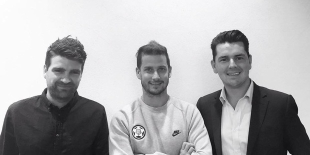 (L to R) Sam Jasper, Sam Jenkins and Mike Simpson, co-founders of football app, MY F.C.