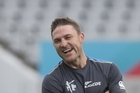 Brendon McCullum talks during post-match press conference.