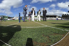 Brendon McCullum and Steve Smith at the toss for the first test in Wellington. Photo / Getty