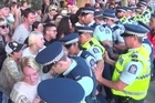 "A group of protesters halted the Auckland Pride Parade this evening chanting ""police are violent, we won't be silent""."