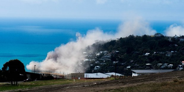 Loading A cliff collapse at Whitewash Heads in Christchurch after today's earthquake. Photo: Richard Loffhagen/Twitter