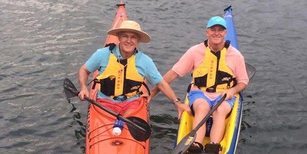 Prime Minister John Key kayaking in Sydney with Australian Prime Minister Malcolm Turnbull. Photo / John Key Twitter
