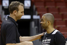 Sean Marks with  Tony Parker of the San Antonio Spurs. Photo / AP