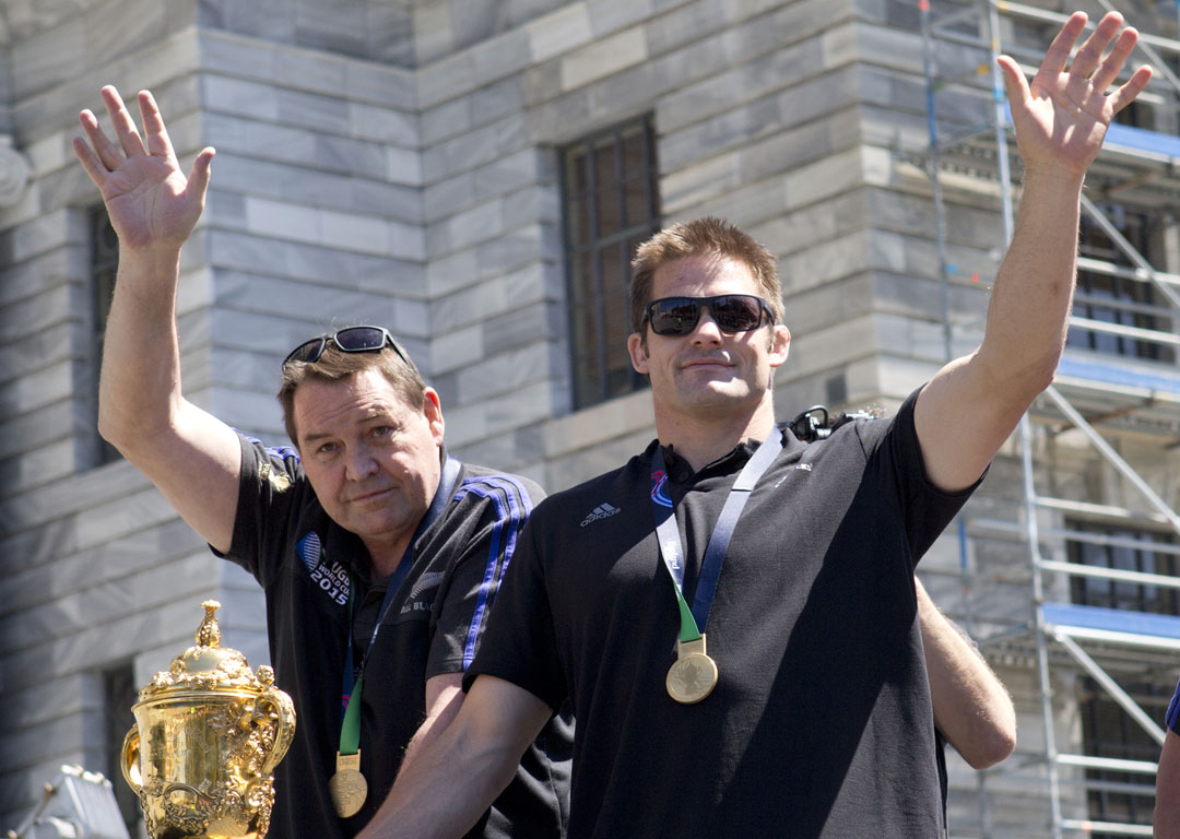 All Blacks Steve Hansen and captain Richie McCaw. Photo / Mark Mitchell