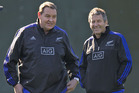 All Blacks head coach Steve Hansen with defence coach Wayne Smith. Photo / Brett Phibbs