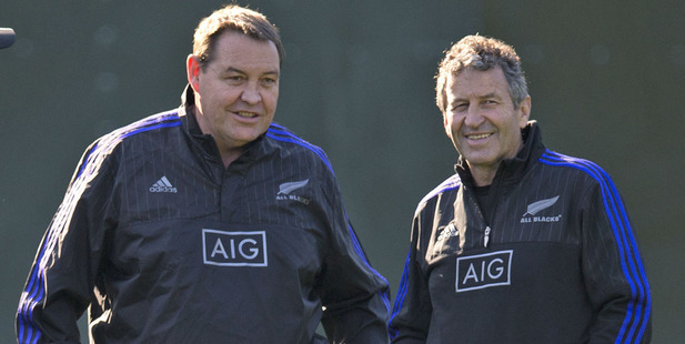 All Blacks head coach Steve Hansen with defence coach Wayne Smith. Photo / Brett Phibbs