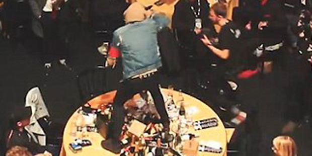 Loading Oli Sykes goes wild on Coldplay's table at the NME Awards. Photo / YouTube