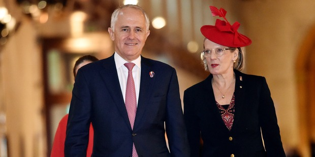 Australian Prime Minister Malcolm Turnbull and his wife Lucy Turnbull. Photo / Getty Images