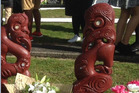 The two pou stolen from graves in Kauae Cemetery. PHOTO/SUPPLIED