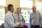 Richard Thurlow, Hospice chief executive (left), Health Minister Jonathan Coleman, BOP MP Todd Muller. Photo / George Novak