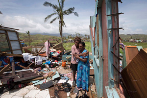 Sanjogeeta Kiran with her mother at their home in RakiRaki, which was totally destroyed, after cyclone Winston hit Fiji and caused loss of lives and extensive damage to the north west side of the Viti