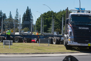 Truck involved in a crash at the Tarawera roundabout. Photo/Ben Fraser