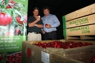 Two of Hawke's Bay's biggest apple exporters have teamed up to store apples, yesterday opening the region's largest single-rooms coolstore. Pictured are Bostock New Zealand owner John Bostock (left) and Mr Apple chief executive Andrew Van Workum. Photo / Paul Taylor