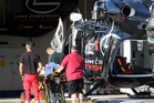 Lowe Corporation rescue helicopter crew tend to a victim of a motor vehicle accident at Hawke's Bay Hospital in Hastings. Photo / Paul Taylor