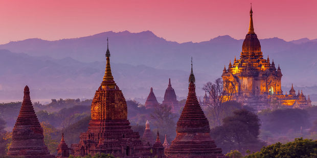 The temples of Bagan offer a spectacular panoramic view at sunset. Photo / 123RF
