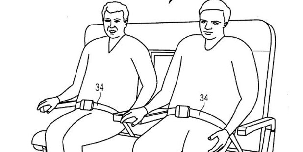 Drawing from Airbus of two 'overweight' passengers on the bench seat. Photo / Patentscope