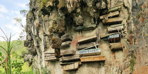 The village is known for its forests, caves and unusual hanging coffins. Photo / 123RF
