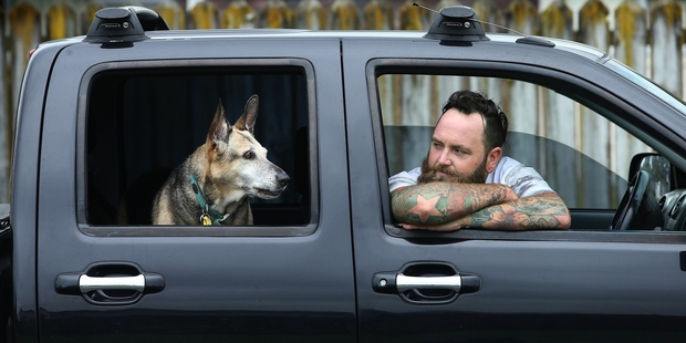 HOME AND HOSED: Widower Brett Morrison and dog Abby are remaining in their Papamoa neighbourhood after finding a dog-friendly landlord.PHOTO/JOHN BORREN