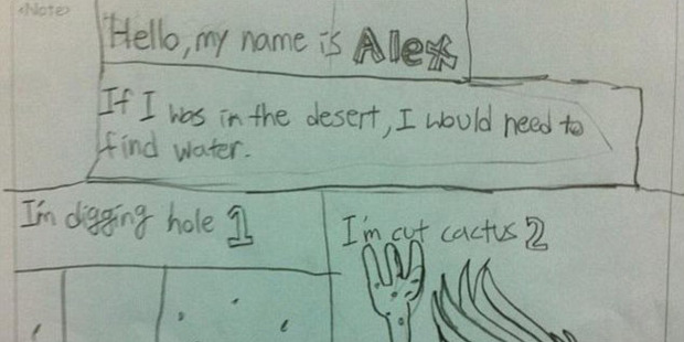 Student Alex suggested three steps to find water in the desert. Photo / Reddit