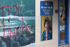 National Party MP Anne Tolley's electorate office in Whakatane was fire-bombed and marked with graffiti earlier this month. Photo: Alan Gibson