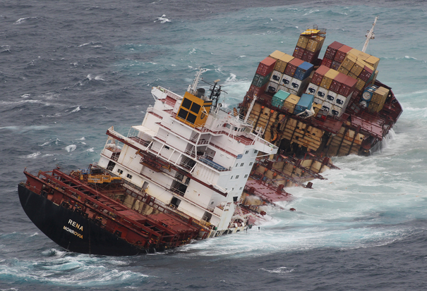 The container ship Rena sits in two pieces on Astrolabe Reef off the coast of Tauranga. Big swells have broken the ship apart. Photo: JOEL FORD  unpublished - please keep