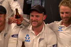 Brendon McCullum shares one final moment in the shed with his Black Caps side after finishing his test career. Photo / Supplied