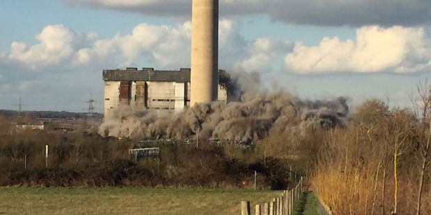 "Witnesses said Didcot Power Station in Oxfordshire was felt ""shuddering"" after the blast. Photo: Twitter/@BlaineMSmith"