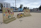 A display has been set up at Christchurch's CTV building site where people can place flowers. Photo / Supplied