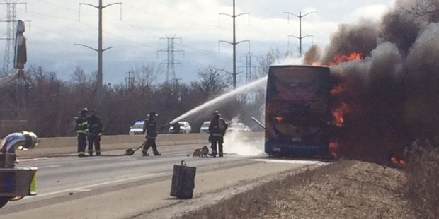 Shortly after pulling over, the Megabus exploded into flames. Photo / Lucas Peterson