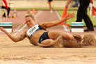 Veronica Torr of New Zealand competes in the womens long jump. Photo / Getty Images