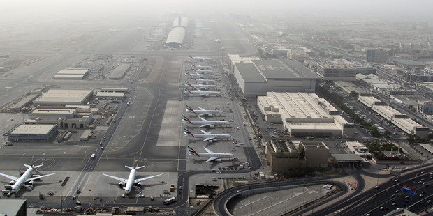 An aerial view shows Dubai international airport, home to the national carrier Emirates Airways. Photo / Getty Images