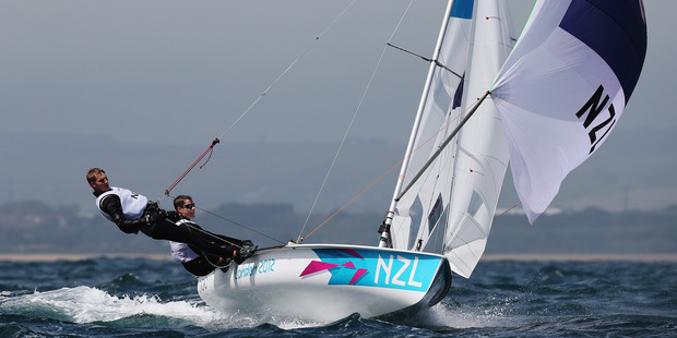 Paul Snow-Hansen and Jason Saunders of New Zealand compete in the Men's 470. Photo / Getty Images