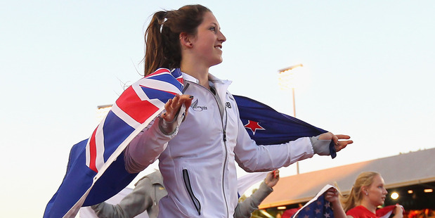 Eliza McCartney of New Zealand after winning the bronze medal at the Junior World Champs. Photo / Getty Images
