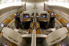 The first class area onboard an Airbus A380-800 aircraft, operated by Emirates. Photo / Getty